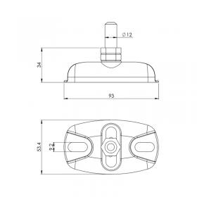 Schéma de la crapaudine inox à visser axe Ø12 mm réglable