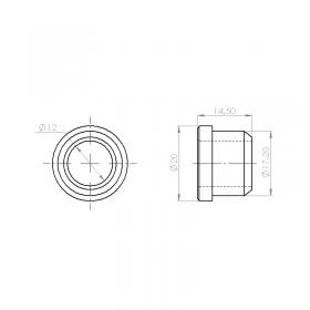 Schéma de la bague de guidage à collerette composite noir pour axe Ø12 mm