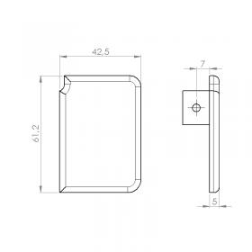 Schéma de la paire de bouchons aluminium (G et D) laquée pour rail de guidage haut
