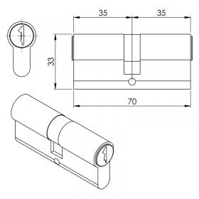 Schéma de la cylindre Européen 35/35 mm, nickelé (3 clés)