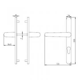 Schéma du kit poignées et plaques aluminium anodisé Zen, entraxe 70 mm, carré de 7 mm