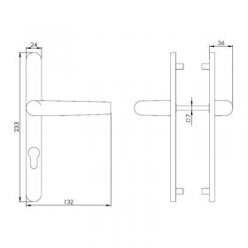 Schéma du kit poignées réduites et plaques aluminium anodisé Zen, entraxe 70 mm, carré de 7 mm