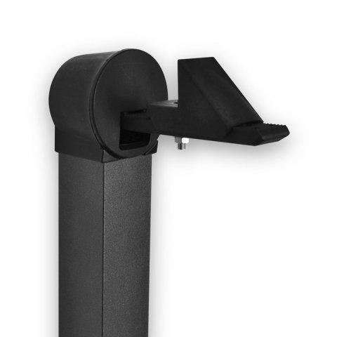 Arrêt de porte automatique réglable sur tube aluminium laqué noir, à sceller