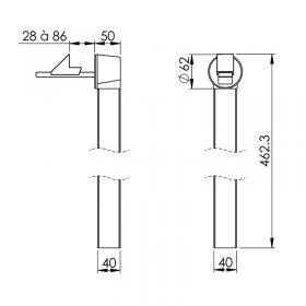 Schéma de l'arrêt de porte automatique réglable sur tube aluminium laqué noir, à sceller