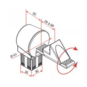 Schéma de placement de l'arrêt de porte automatique réglable sur tube aluminium laqué noir, à sceller