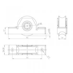 Schéma du galet acier Ø50 mm L25 mm rail de sol 16 mm pour portail coulissant