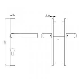 Schéma kit poignées et plaques gris inox Boston, entraxe 70 mm, carré de 7 mm