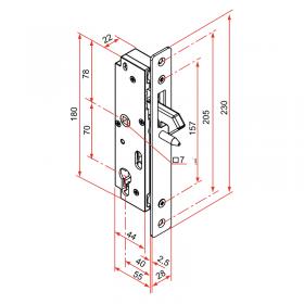 Schéma serrure à encastrer, pour portail coulissant, réversible entraxe 70 mm, pêne inox levant, carré de 7 mm