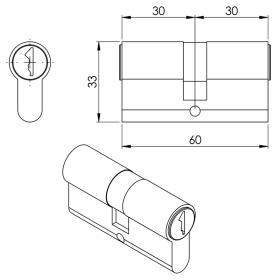 Schéma du cylindre Européen 30/30 mm, nickelé (3 clés)