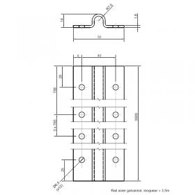Schéma du kit de 2 rails de guidage au sol de 1.75 m pré percé, acier zingué, pour gorge 16 mm