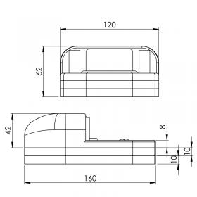 Schéma du kit sabot de sol pour portail motorisé + 2 cales de 10 mm