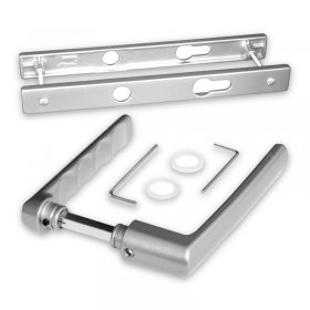 Kit poignées réduites et plaques gris inox Boston, entraxe 70 mm, carré de 7 mm