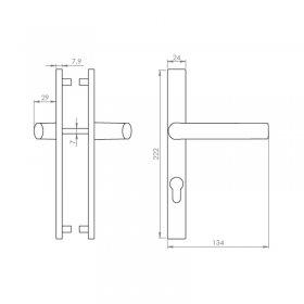 Schéma du kit poignées réduites et plaques gris inox Boston, entraxe 70 mm, carré de 7 mm