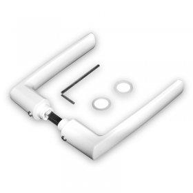 Kit poignées et plaques blanches Boston, entraxe 70 mm, carré de 7 mm