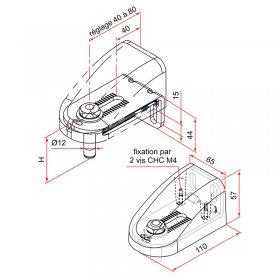 Schéma du kit gond et carénage large aluminium laqué gris anthracite