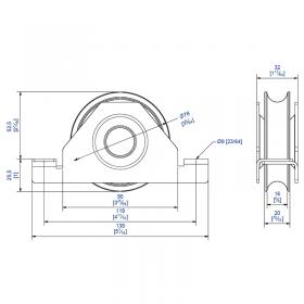 Schéma du galet acier Ø78 mm L32 mm rail de sol 16 mm pour portail coulissant
