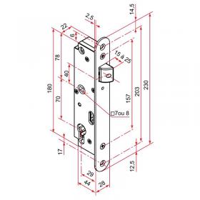 Schéma serrure à encastrer, pour portail battant, réversible entraxe 70 mm, pêne composite, carré de 7 mm pour canon Européen