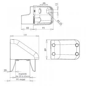Schéma de placement de la gâche alu laqué portails coulissants motorisés